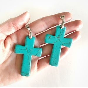 Jewelry - Large turquoise stone cross pendant (one)